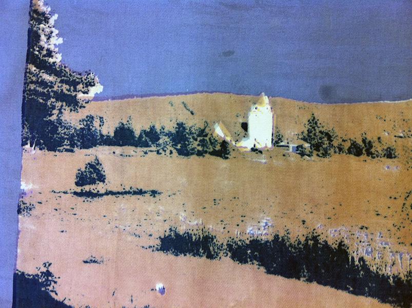 Textiltryck på satin, konstverk av Josabet Werkmäster