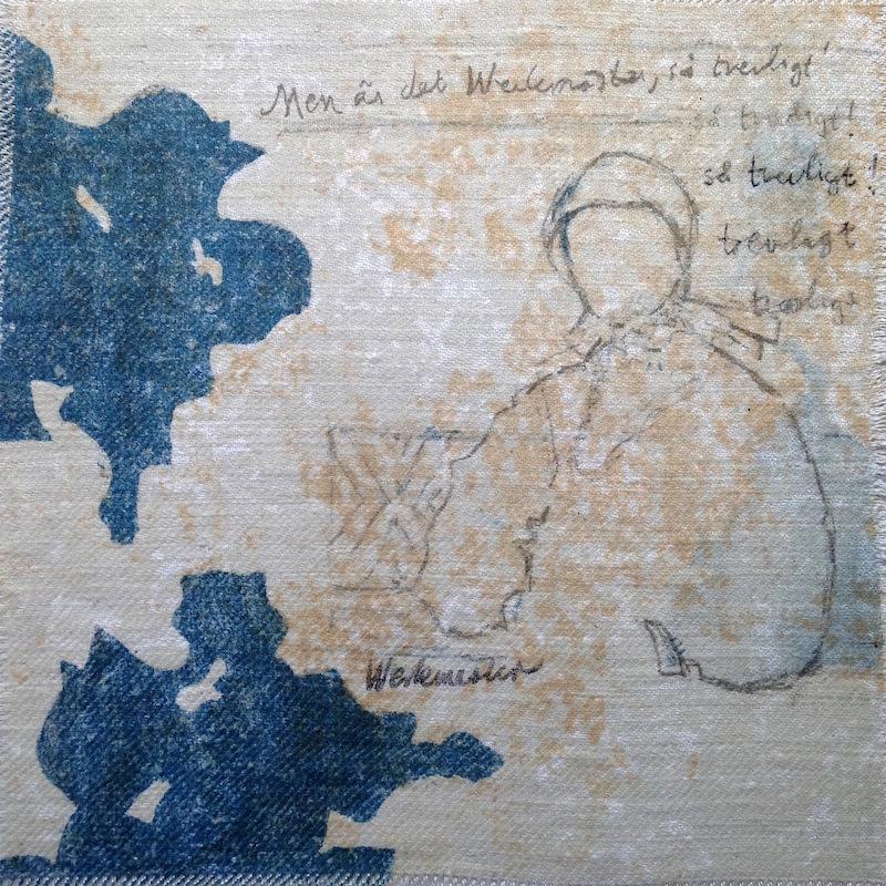 Titel: Spår - släktled (generationer) Teknik: stenlitografi och broderi