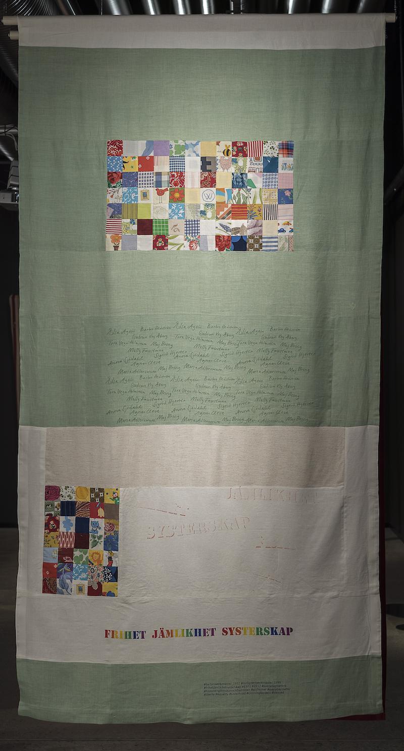 Textiltryck och lappteknik av Josabet Werkmäster Titel Historien, glömskan och framtiden