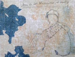 stenlitografitryck på textil 20 x 20 cm